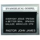 """Aarco Products BM3343  Single Sided Outdoor Community Board Illuminated with Header, Satin Adonized 33""""H x 43"""" W"""