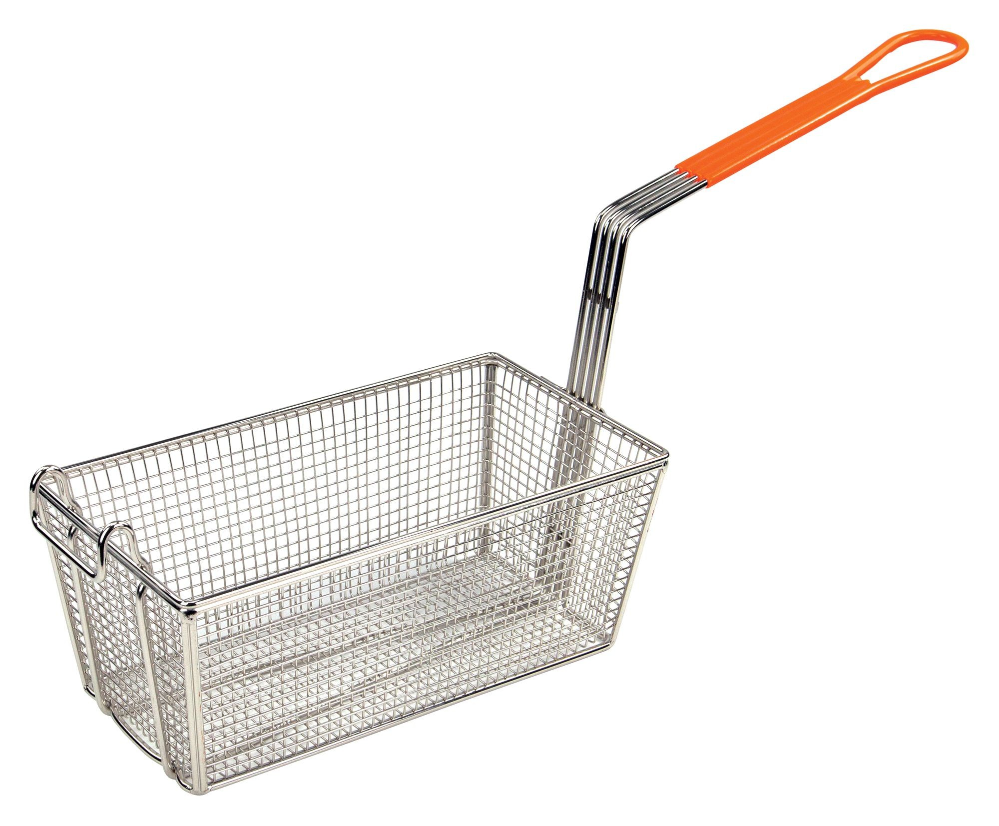 "Winco fb-10 Heavy Duty Fry Basket with Orange Handle 12-1/8"" x 6-1/2"" x 5-3/8"""