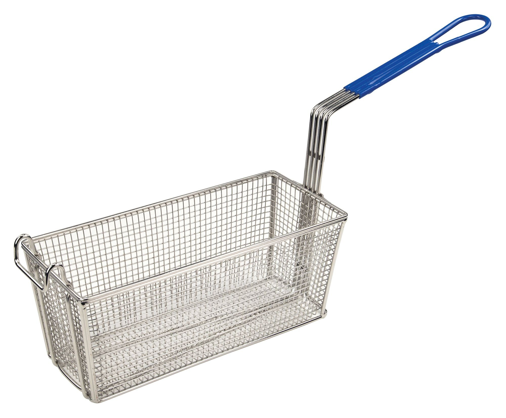 "Winco fb-20 Fry Basket with Blue Plastic Handle 13-1/4"" x 5-5/8"" x 5-7/8"""