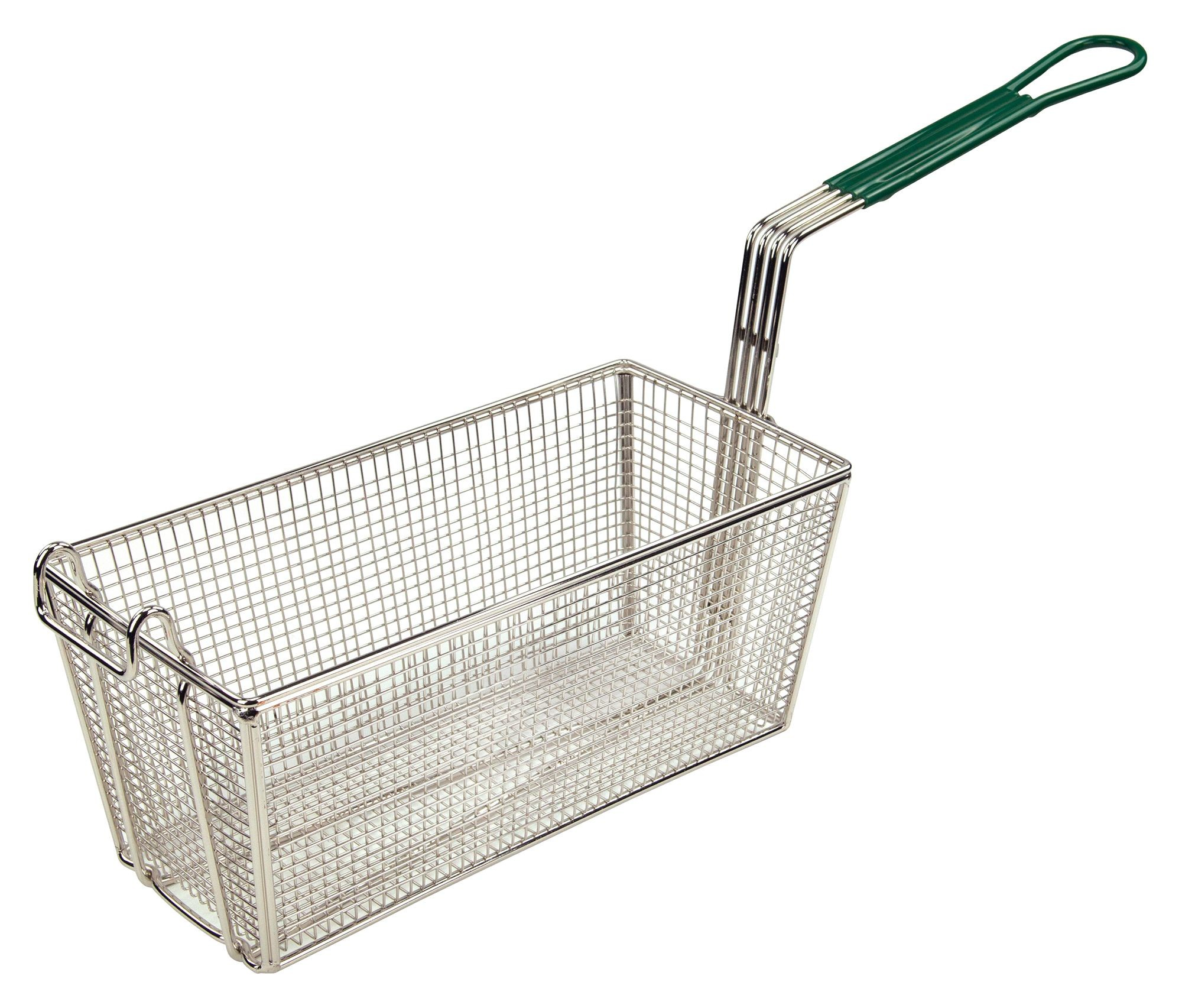 "Winco FB-30 Fry Basket with Green Plastic Handle 13-1/4"" x 6-1/2"" x 5-7/8"""