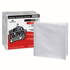 Heavy-Duty Quarterfold Shop Towels, 13 x 13, White, 70/Pack