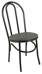 Royal Industries ROY 717 B Bistro Chair with Black Steel Frame & Black Vinyl Seat