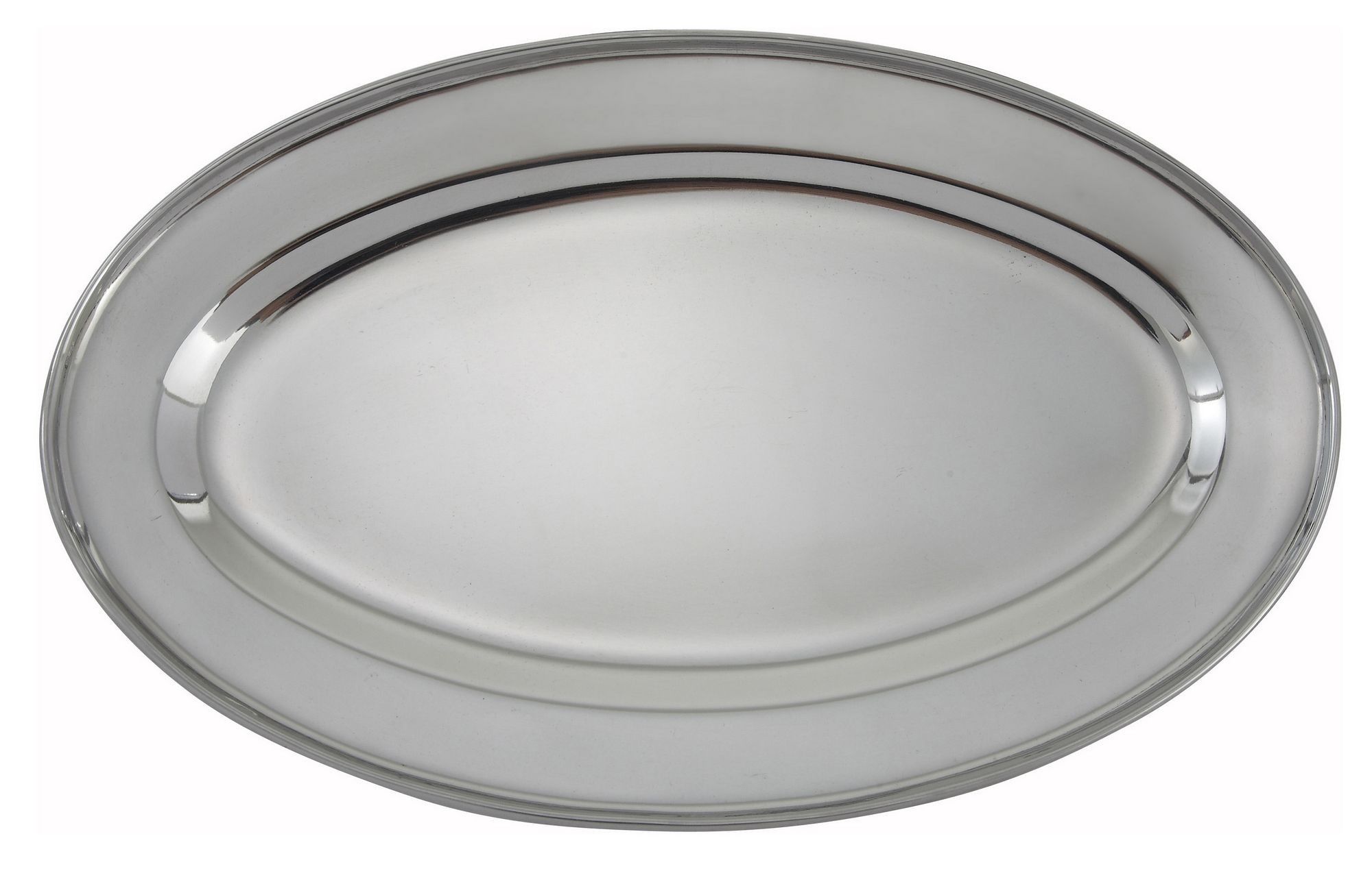 "Winco OPL-14 Stainless Steel Oval Platter - 14"" x 8-3/4"""