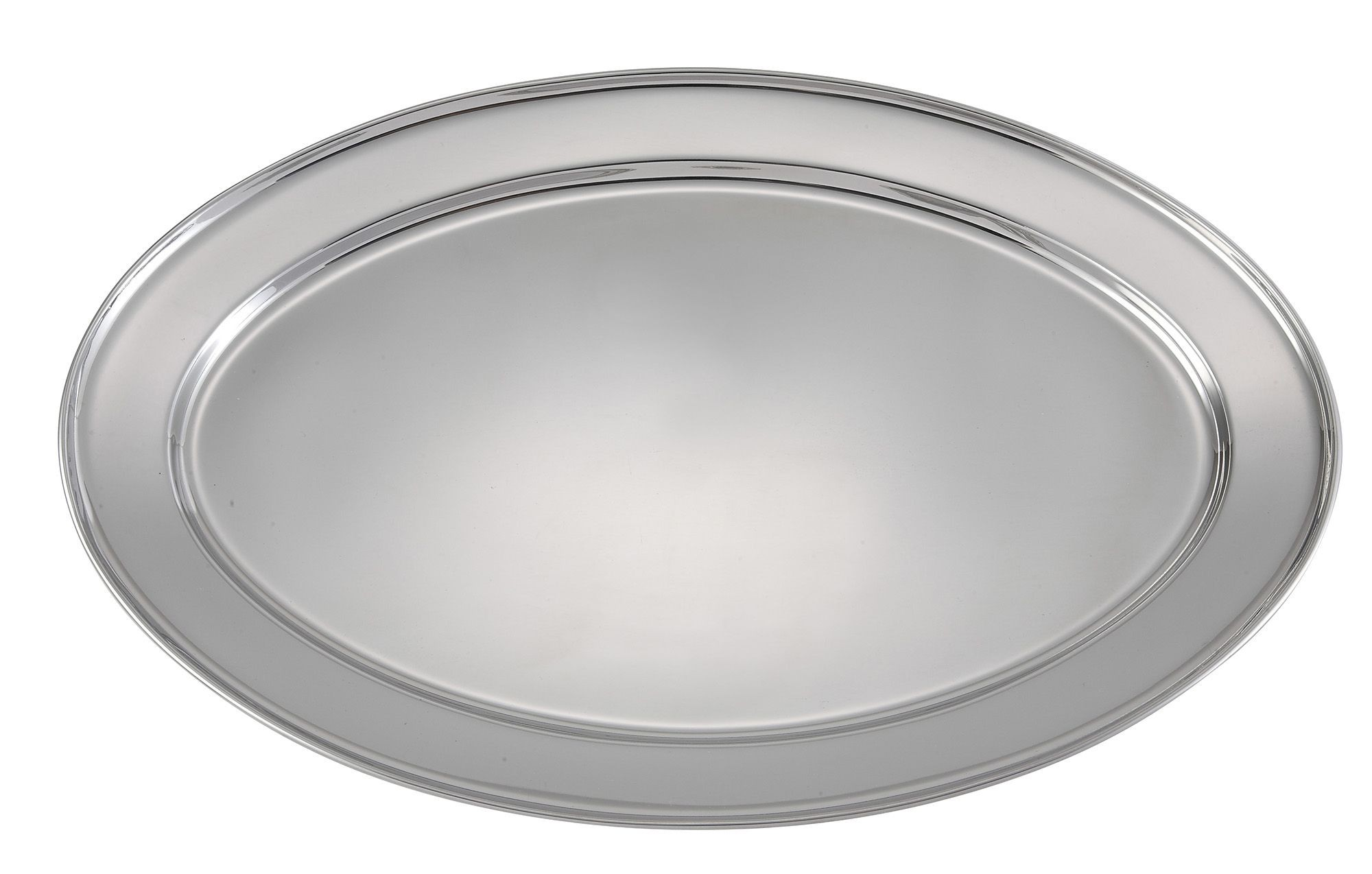 "Winco OPL-20 Stainless Steel Oval Platter - 20"" x 13-3/4"""