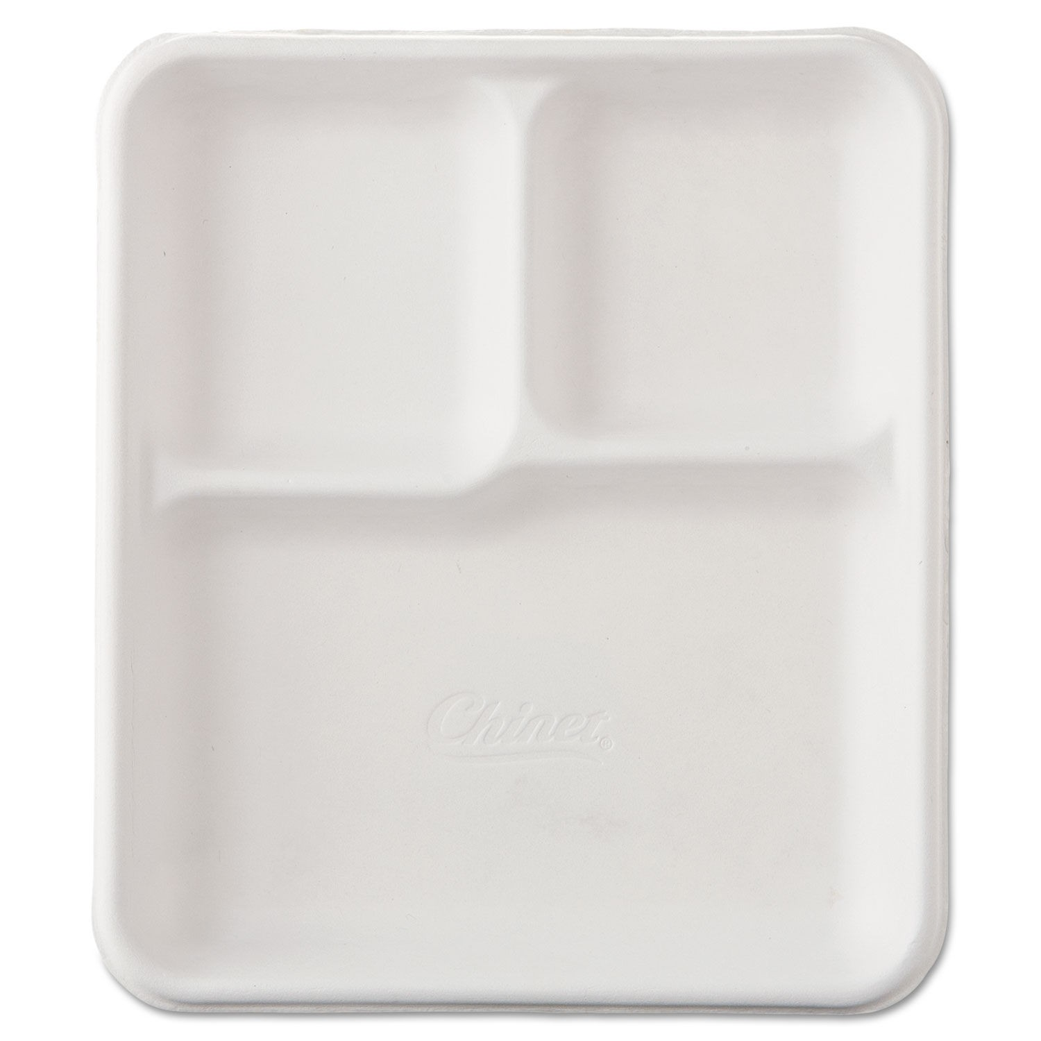 Heavy-Weight Molded Fiber Cafe Tray, 3-Compartment, 8 1/4x9 1/2, 125/Bag