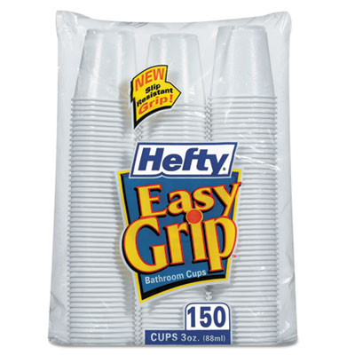 Hefty Easy Grip Disposable Plastic Bathroom Cups, 3 oz., 150/Pack