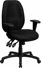 High Back Black Fabric Multi-Functional Ergonomic Task Chair with Arms [BT-6191H-BK-GG]