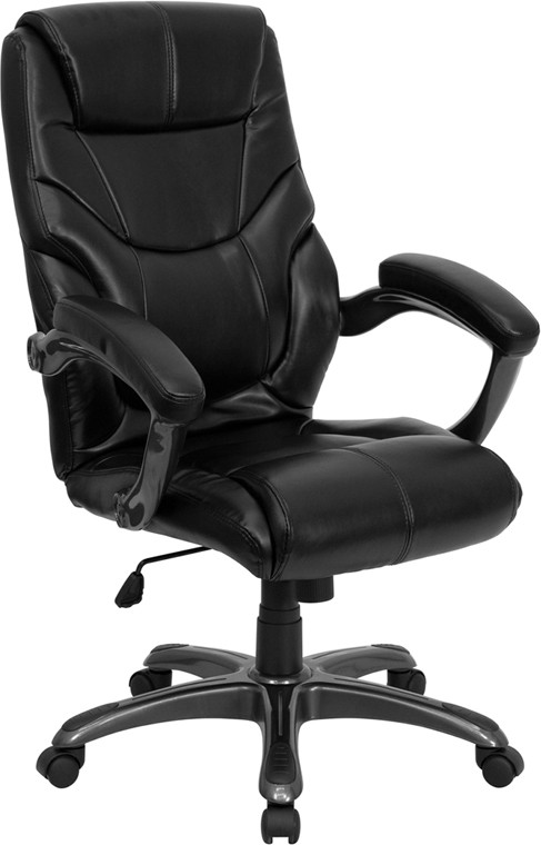 Flash Furniture GO-724H-BK-LEA-GG High Back Black Leather Contemporary Office Chair
