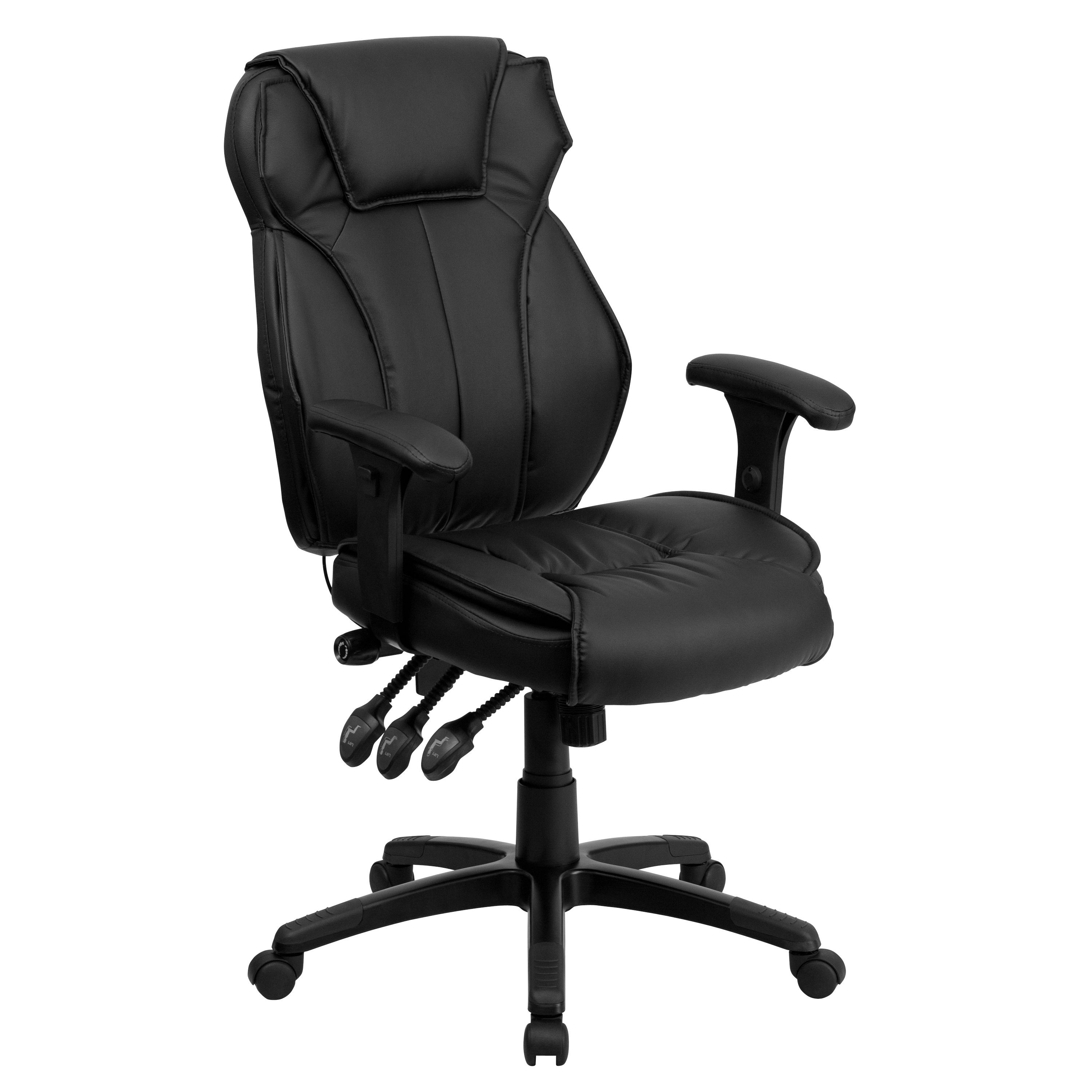 Flash Furniture BT-9835H-GG High Back Black Leather Executive Office Chair with Triple Paddle Control