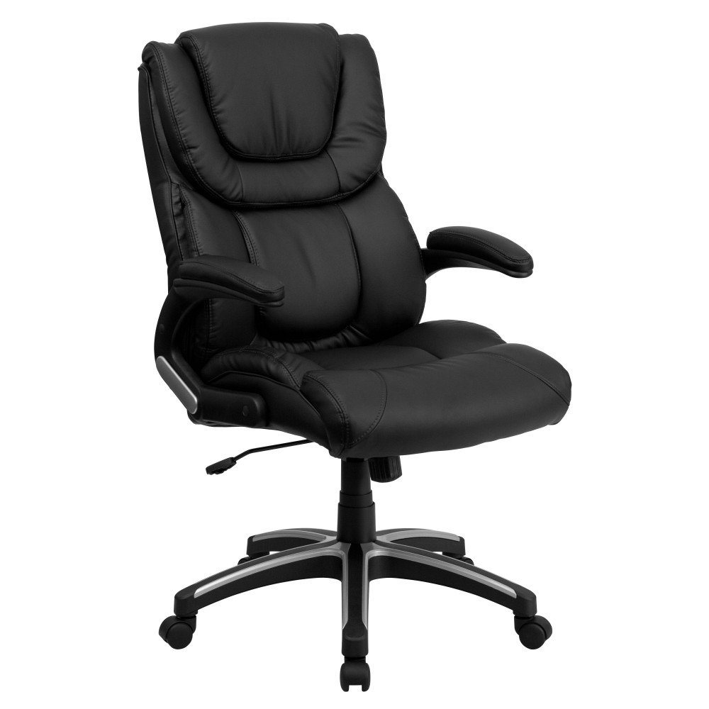 Flash Furniture BT-9896H-GG High Back Black Leather Executive Office Chair