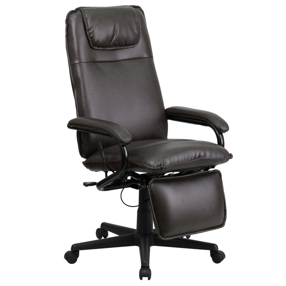 High Back Brown Leather Executive Reclining Office Chair