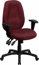 High Back Burgundy Fabric Multi-Functional Ergonomic Task Chair with Arms [BT-6191H-BY-GG]
