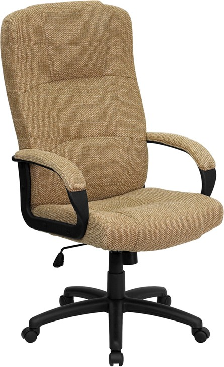 High Back Executive Beige Patterned Fabric Office Chair
