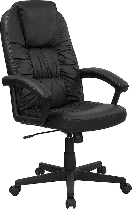 High Back Executive Black Leather Swivel with Nylon Base
