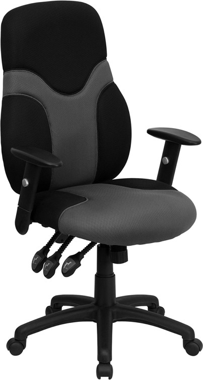 High Back Gray and Black Mesh Task Chair with Adjustable Arms