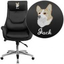 High Back Leather Executive Office Chair with Lumbar Pillow