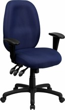 High Back Navy Fabric Multi-Functional Ergonomic Task Chair with Arms [BT-6191H-NY-GG]