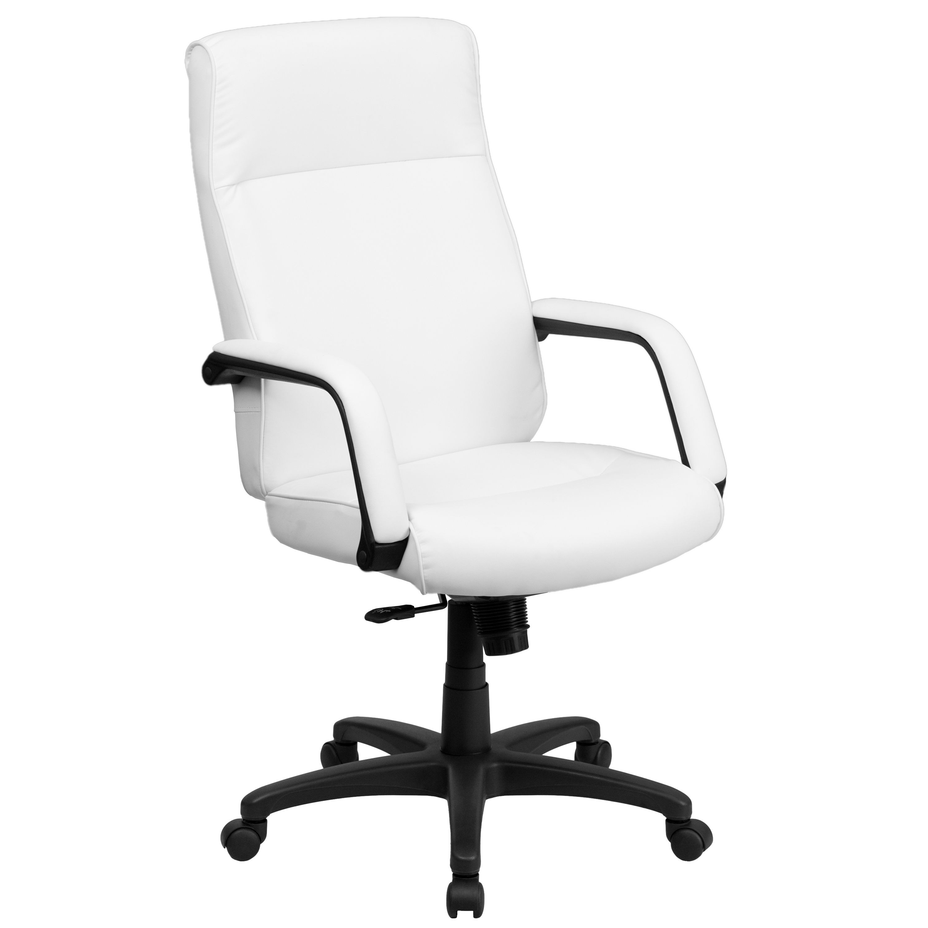 Flash Furniture BT-90033H-WH-GG High Back White Leather Executive Office Chair with Memory Foam Padding