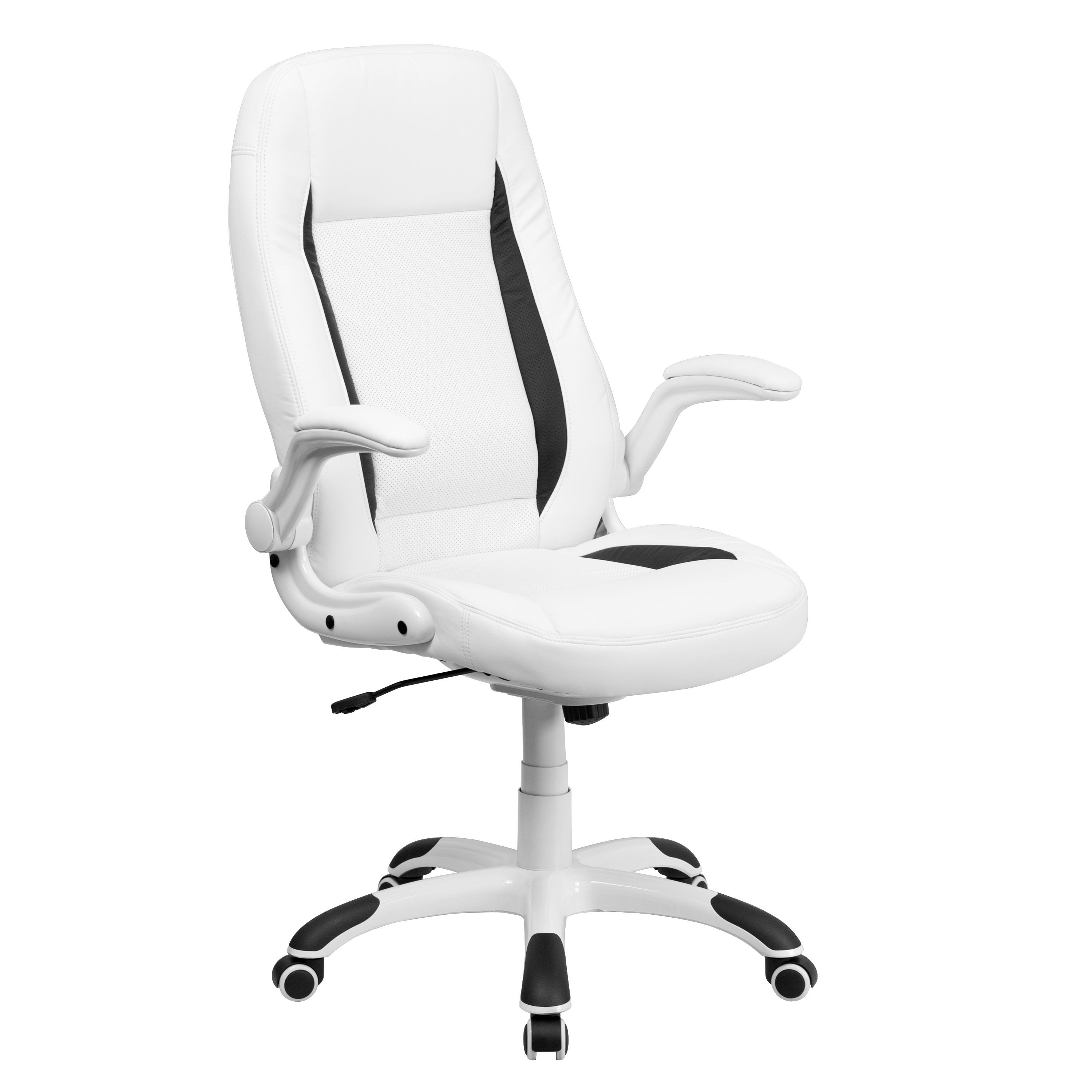 High Back White Leather Executive Office Chair with Flip-Up Arms [CH-CX0176H06-WH-GG]