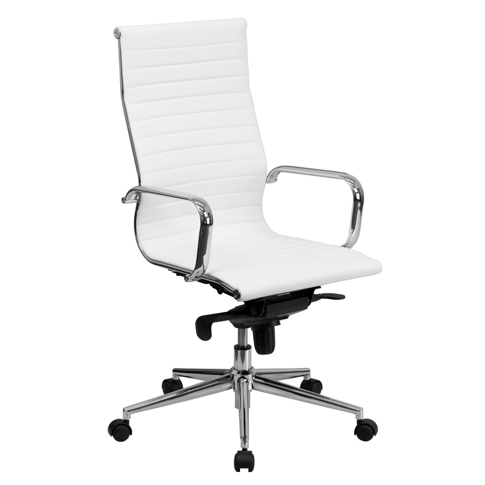 High Back White Ribbed Upholstered Leather Executive Office Chair [BT-9826H-WH-GG]