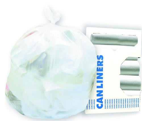 High-Density Can Liners, 40 x 46, 45-Gal, 14 Micron Equivalent, Clear, 25/Roll