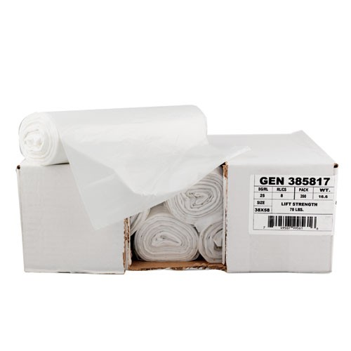 High-Density Garbage Can Liner 33 X 39, Clear, 12 Mic