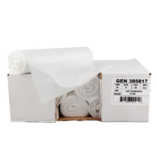 High-Density Garbage Can Liner, 38 X 58, Clear, 14 Mic