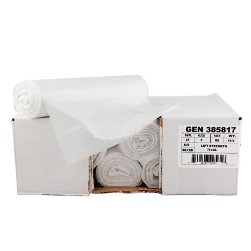 High-Density Garbage Can Liner, 40 X 46, Clear, 12 Mic