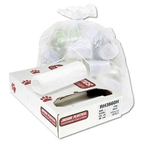 High-Density Garbage Can Liner, Coreless Roll, 30 X 37, Natural Color