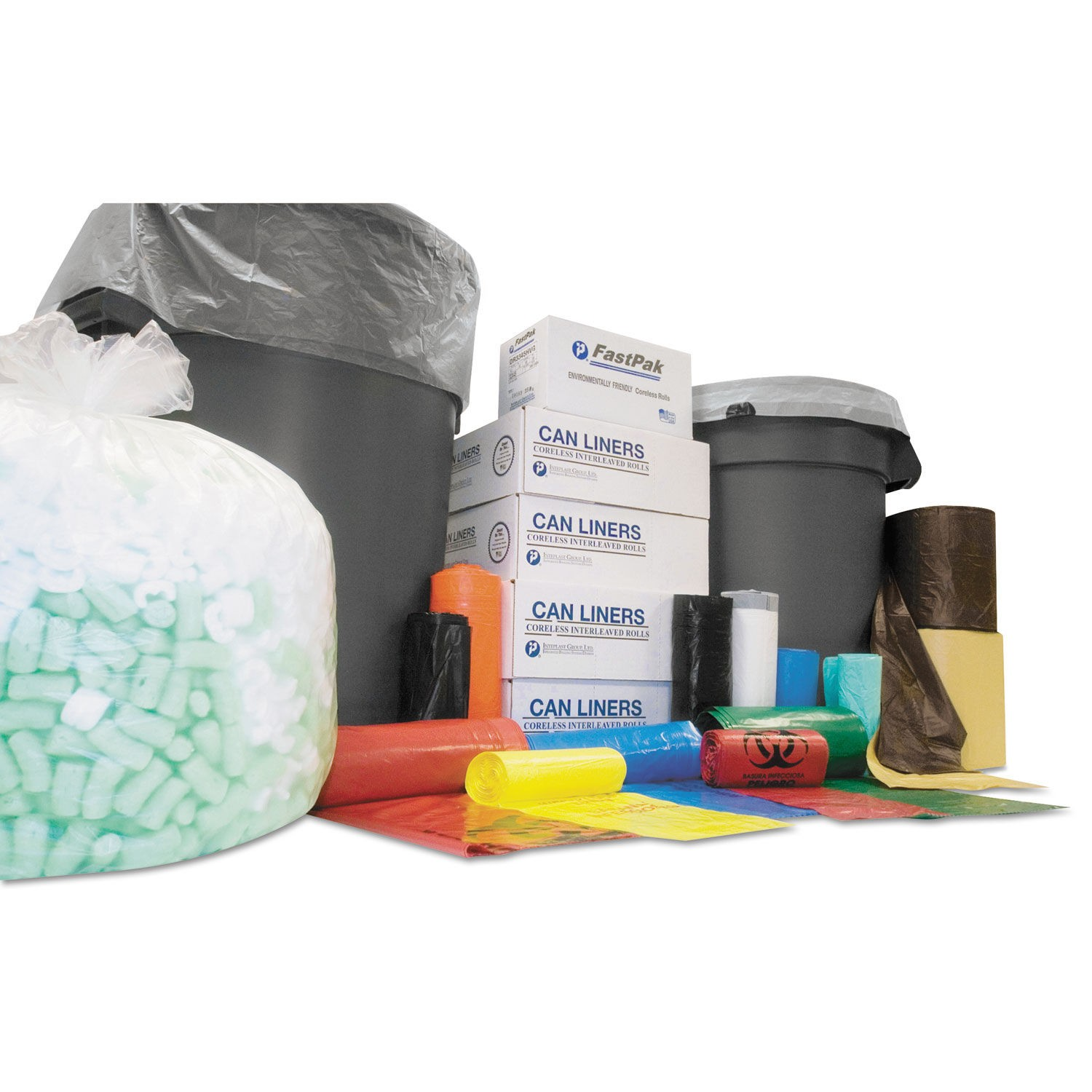 High-Density Interleaved Commercial Can Liners, 60 gal, 12 microns, 38