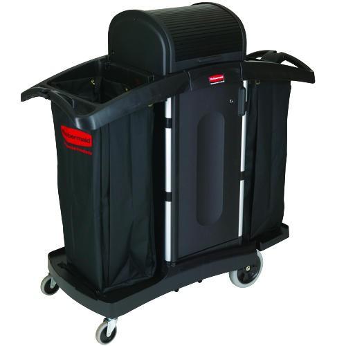 High-Security Two-Shelf Housekeeping Cart, Black/Silver