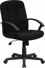 Flash Furniture GO-ST-6-BK-GG Mid-Back Black Fabric Executive Office Chair
