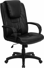 High-back Black Leather Executive Office Chair, black stem, caster and Wheels