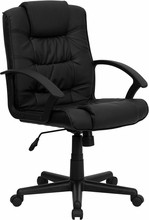 High-back Executive Office Chair,  Black Leather