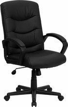 High-back Black Leather Executive Office Chair, Black Caster, Stem and Wheels