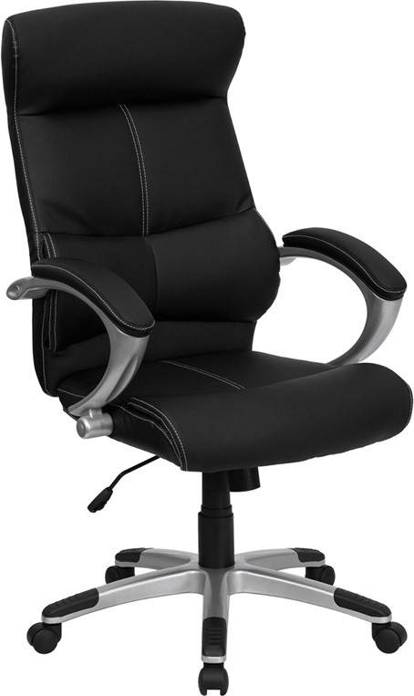 Flash Furniture H-9637L-1C-HIGH-GG High-Back Black Leather Executive Office Chair, Silver Frame
