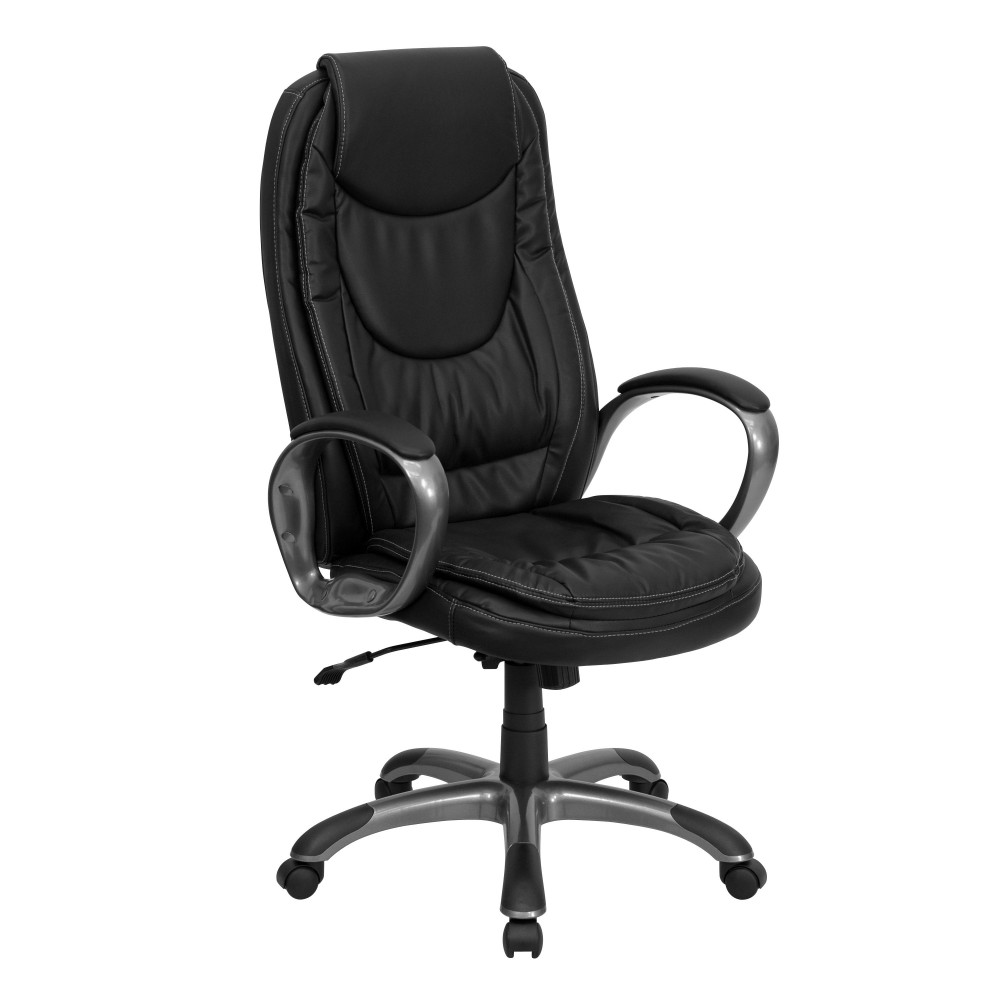 High-back Black Leather Executive Office Chair, Arm Rests