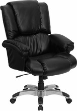High-back Black Leather Overstuffed Executive Office Chair