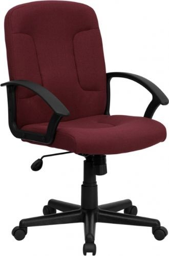 High-back Burgundy Fabric Executive Office Chair