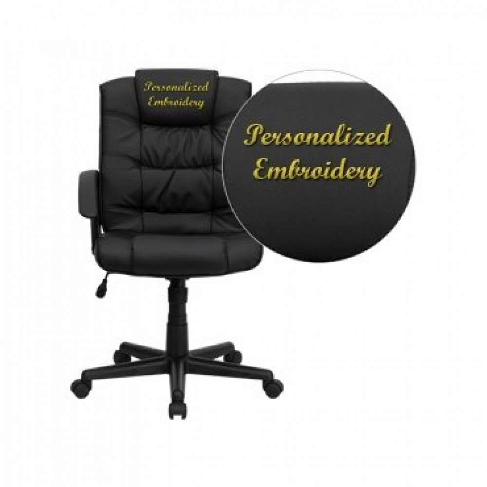 Flash Furniture GO-937M-BK-LEA-GG High-Back Black Leather Executive Office Chair