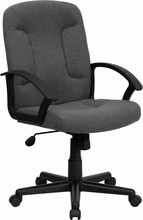 High-back Gray Fabric Executive Office Chair