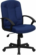 High-back Navy Fabric Executive Office Chair