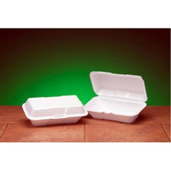 Hindged with Double Lock, White Foam Container- Large Hoagie Size