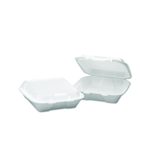 Hinged, 1 Compartment, White Foam Container- Medium