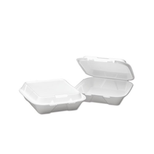 Hinged, 3 Compartment, White Foam Container - Small