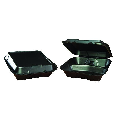 Hinged, Black Foam Container, 3 Compartments- Large