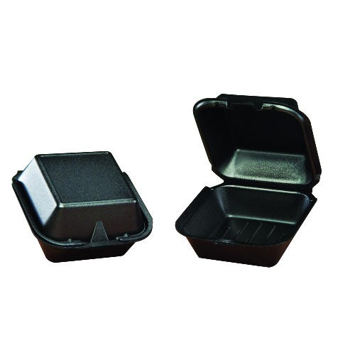 Hinged, Black Foam Container, 1 Compartment - Large Sandwich Size
