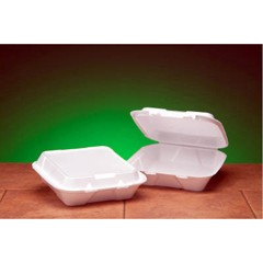 Hinged, White Foam Container, 1 Large Compartment