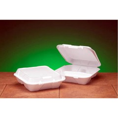 Hinged, White Foam Container, 3 Compartments - Large