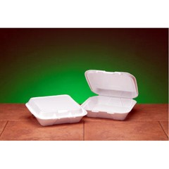 Hinged, White Foam Container - Small Size